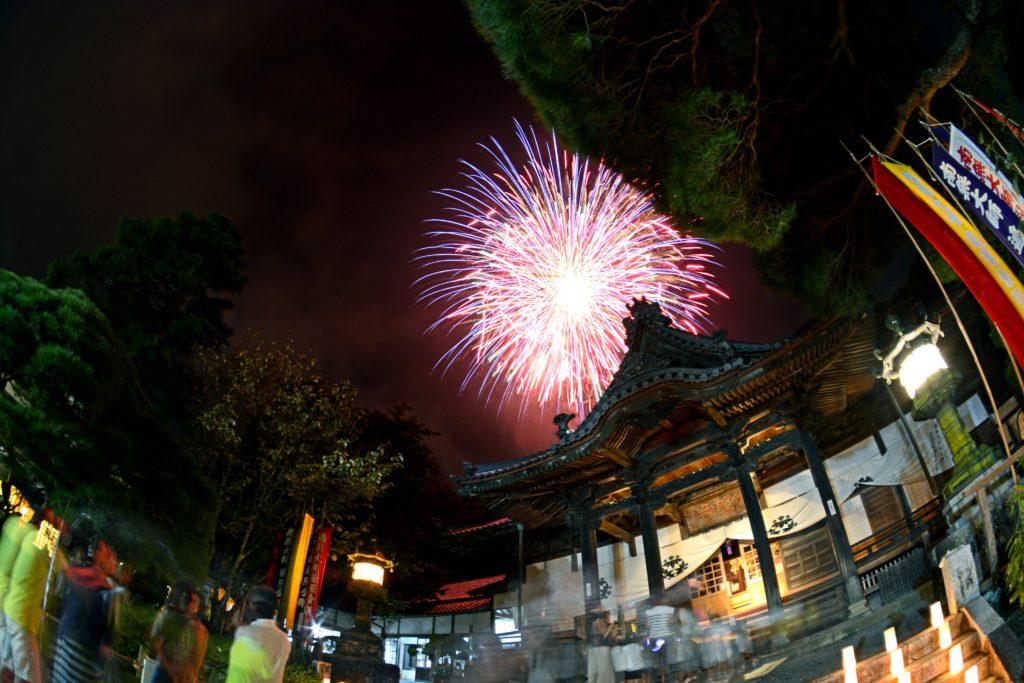 修禅寺と花火